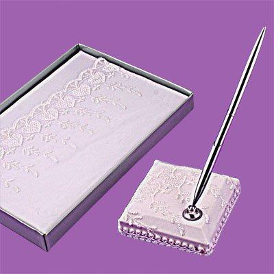 White Elegant Wedding Guest Book and Pen Set Favor
