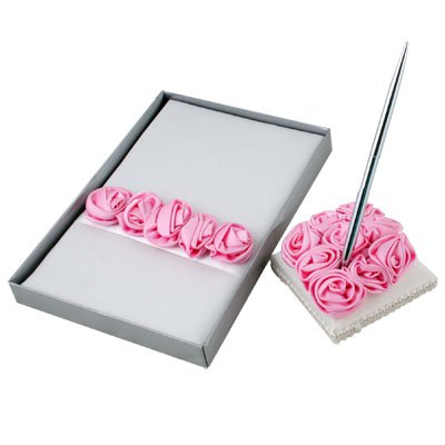Wedding Guest Book Register Pen Set with Pink Rosettes