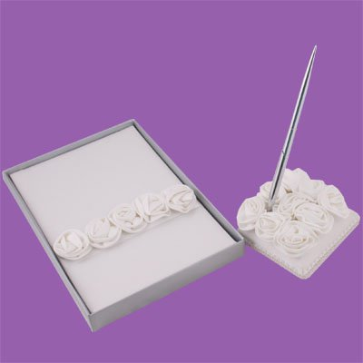 Wedding Guest Book Register Pen Set with White Rosettes