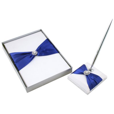White & Blue Elegant Satin Wedding Guest Book & Pen Set