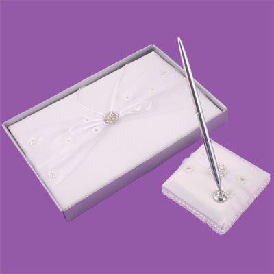 Crystal Flower Bridal Wedding Guest Book & Pen Set