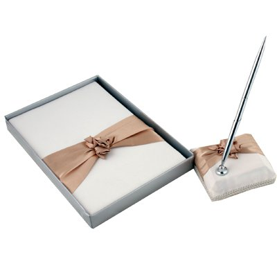 Ivory with champagne Wedding Guest Book & Pen Set