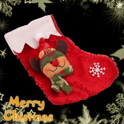 Red & Brown Deer Christmas Xmas Stocking Gift Bags Ornament Decoration