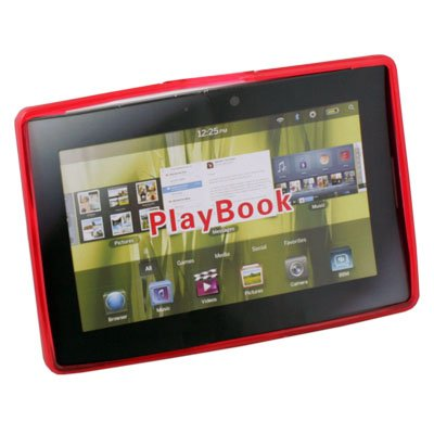 Clear Ripple Rubber Case Cover for Blackberry Playbook Red