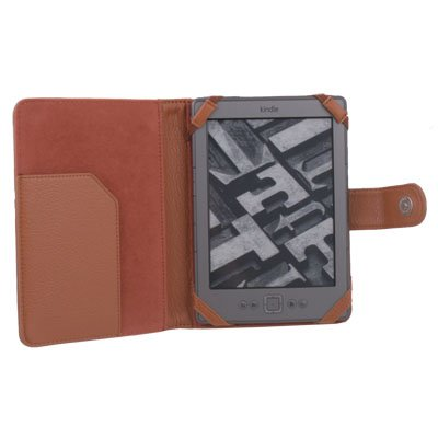 PU Leather Case Cover Pouch Jacket for Ebook Reader Amazon Kindle 4 Brown#7415#