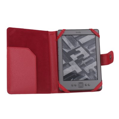 Red PU Leather Case Skin Cover for Latest Amazon Kindle 4 4th