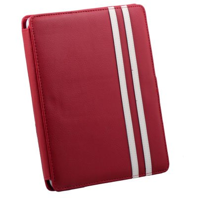 For Apple iPad Red Leather Case Pouch Kick Stand