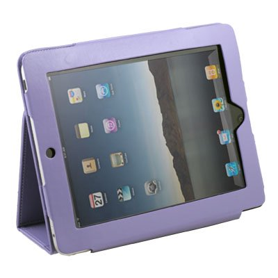 Purple Leather Skin Case Cover Pouch for Apple iPad
