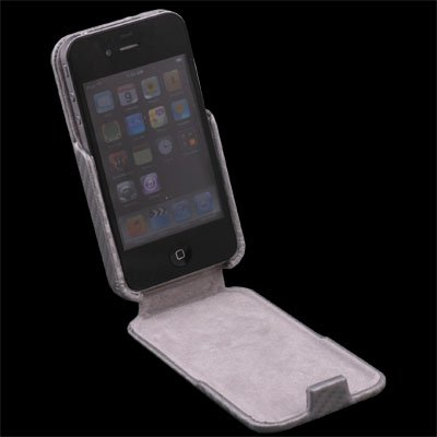Gray Matts Pattern PU Leather Case Cover for iPhone 4G