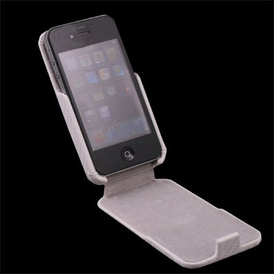 White Matts Pattern PU Leather Case for Apple iPhone 4G