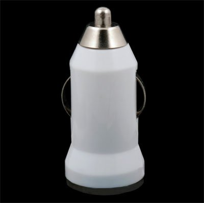White Mini Car Charger USB Adapter for iTouch iPhone 4