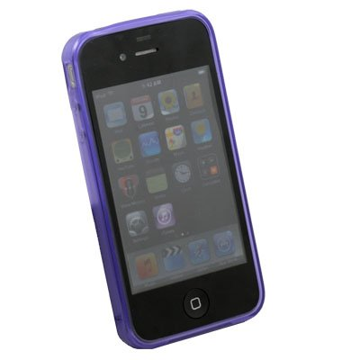 Transparent DotWave Rubber for Apple iPhone 4 4G 4S(Purple)