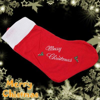 Red Felt Christmas Santa Claus Stocking Gift Bag Ornament Decoration Item