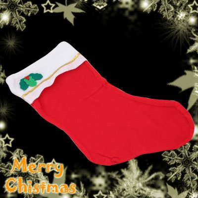 Red Felt Christmas Santa Claus Stocking With A Cute Flower Decoration Item