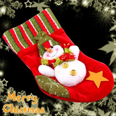 Red Felt Christmas Santa Claus Stocking With A Cute Snowman Decoration Item