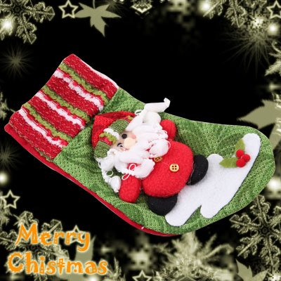 Red Felt Christmas Stocking With A Cute Santa Claus Decoration Item 38CM Long
