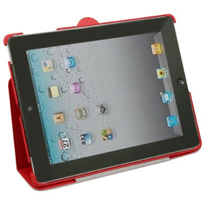 Red Matts Pattern Leather Stand Case Cover for iPad 2