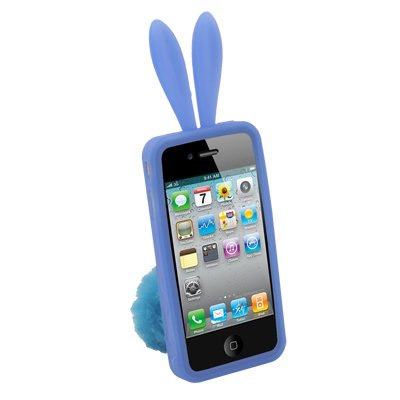 Lovely Rabbit Design Silicone Skin Case With Stand for iPhone 4 (Blue)