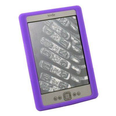 Silicone Skin Case Cover for Latest Amazon Kindle 4 4th Generation eBook Purple