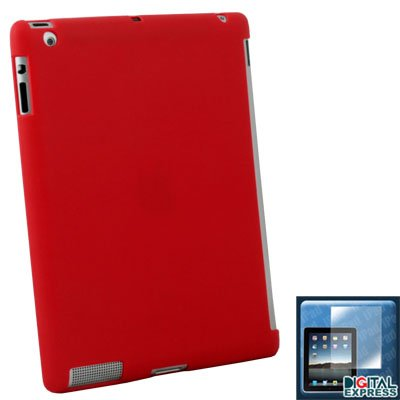Red Smart Cover Hard Case + Protector for iPad 2