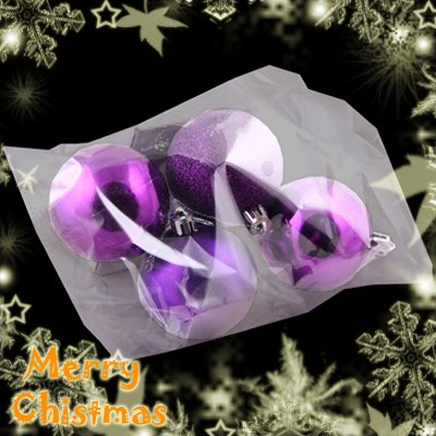 4 Cute Christmas Tree Hanging Item Mixed Ball Charms Decoration Ornaments Purple