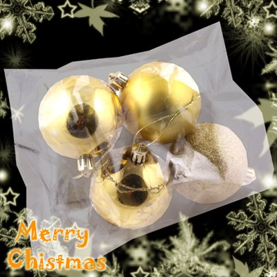 4 Cute Christmas Tree Hanging Item Mixed Ball Charms Decoration Ornaments Gold