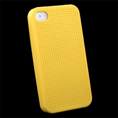 Yellow Cross Stitch Silicone Case for iPhone 4
