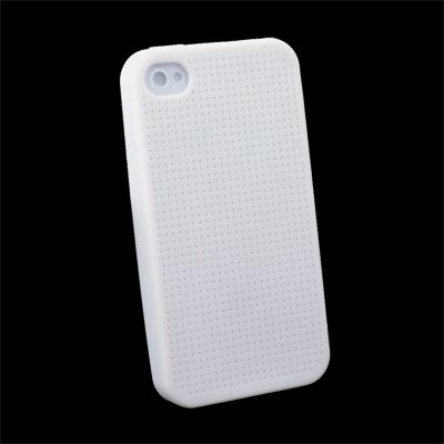 White Cross Stitch Silicone Skin Case for iPhone 4 #7112#