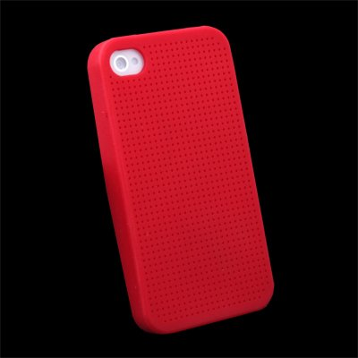 Cross Stitch Silicone Hard Case for Apple iPhone 4 Red #7104#