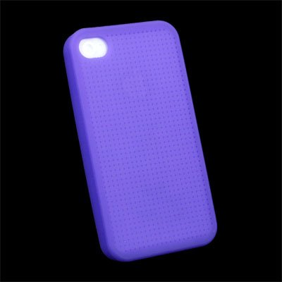 Cross Stitch Silicone Case Cover for Apple iPhone 4 Purple #7105#