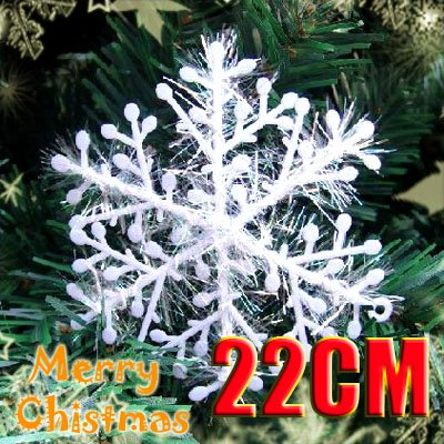 3 x Sparkly Shinning Snowflake Christmas Ornament Decoration Snow White 22cm