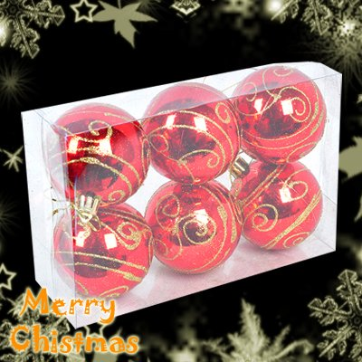 6 Shinning Big Balls Christmas Tree Items Decorations Ornament Pattern Gold Red