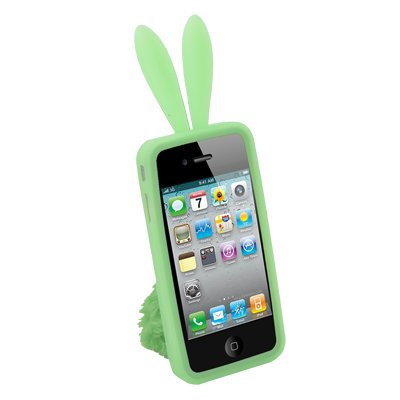 For iPhone 4 Green Rabbit Design Silicone Skin Case With Stand #7441#