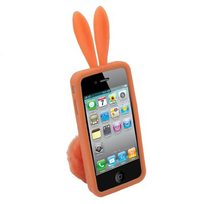 Rabbit Design Silicone Skin Case With Stand for iPhone 4(Orange )
