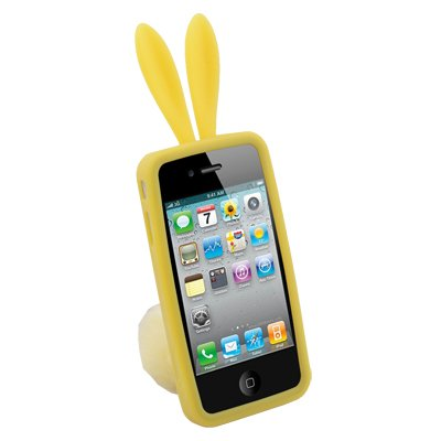 Yellow Rabbit Design Silicone Skin Case With Stand for iPhone 4