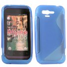 Blue S-Line TPU Hybrid Silicone Rubber Case Cover for HTC Rhyme