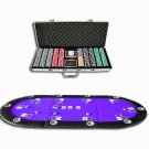 84&quot; 10 Player Hold&#39;em Poker Table Top Purple + 500 Poker Chip Set (Ship US Country Only)#7393+8482#