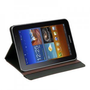 Brown Synthetic Leather Case Cover for Samsung Galaxy Tab Plus 7.7 P6800