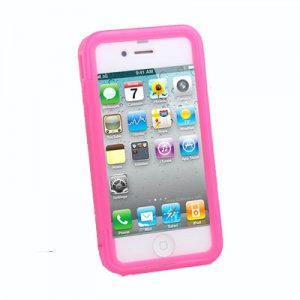 Pink Full Body Transparent Soft TPU Skin Cover for iPhone 4S with Anti Dust