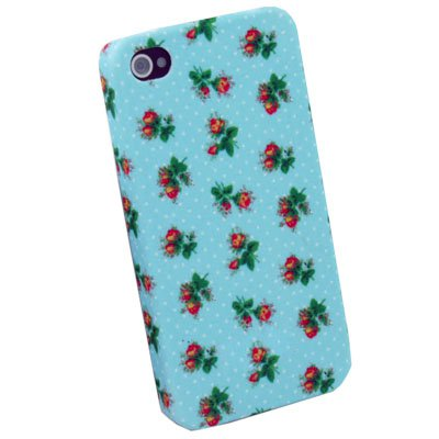 Blue Flower Hard Slim Cover Case for iPhone 4 4G