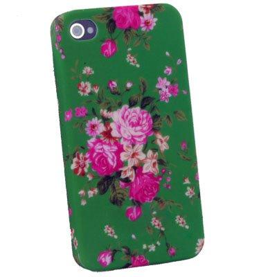 Flower Slim Hard Case Cover For iPhone 4 4G Green