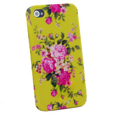 Flower Slim Hard Case Cover For iPhone 4 4G 4S Yellow