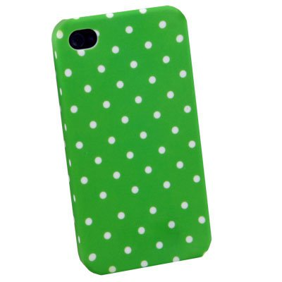 For iPhone 4 4G Dot Green Flower Slim Hard Case Cover