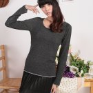 Soft Scoop-Neck Pullover Sweater Dark Grey M (12F096-DARK GREY-M)
