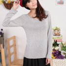 Soft Scoop-Neck Pullover Sweater Grey XL (12F096-GREY-XL)