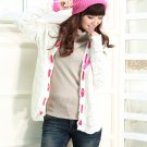 Ladies Hollow Out Knit Cardigan with Silk Ribbon front/Ivory/M (12F080-IVORY-M)