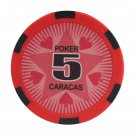50pcs Matte Caracas Star Clay Poker Chips $5 Red 14 Gram (Ship US Country Only) #11027x50#