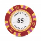 50pcs Matte Monte Carlo Poker Club Clay Chip $5 Red 14 Gram (Ship US Country Only)#14477x50#