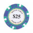 50pcs Matte Monte Carlo Poker Club Clay Chip $25 Green 14 Gram (Ship US Country Only)#14478x50#