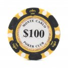 50pcs Matte Monte Carlo Poker Club Clay Chip $100 Black 14 Gram (Ship US Country Only)#14479x50#
